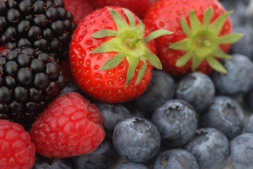 Strawberries, raspberries, blackberries and blueberries, close-up