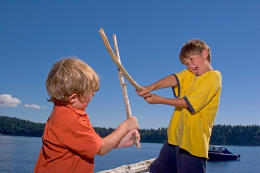 Two young boys playing with sticks