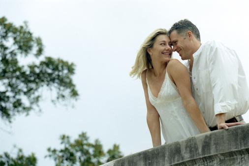 newlyweds: leaning on bridge