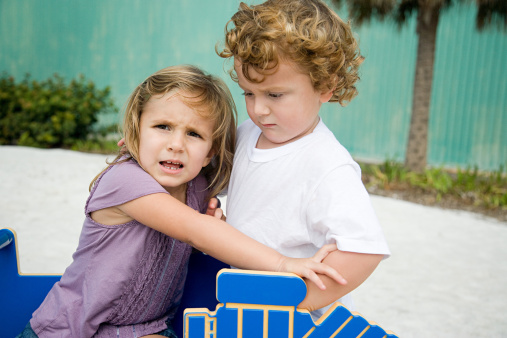 Sister and brother fighting